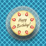 Cheese birthday cake with strawberries Royalty Free Stock Images