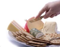 Cheese and biscuits royalty free stock images