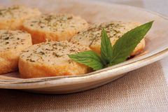 Cheese biscuits and mint Royalty Free Stock Photography