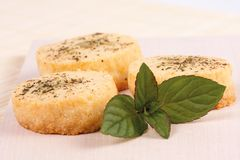Cheese biscuits with mint Stock Image