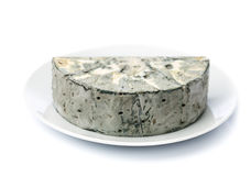 Cheese with black mold on the plate. Stock Photography