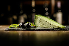 Cheese and black olives royalty free stock photo