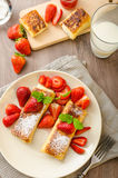 Cheese Blintzes. Filled pancakes riccota and creame fresh with fresh fruit and mint Royalty Free Stock Image