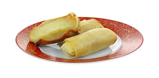 Cheese Blintzes Red Gold Plate Royalty Free Stock Photos