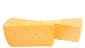 Cheese block isolated on white background cutout. Stock Photo
