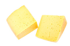 Cheese block isolated on white background cutout. Royalty Free Stock Photos
