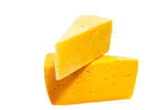Cheese block isolated on white background cutout. Cheese block isolated on white background cutout royalty free stock photo