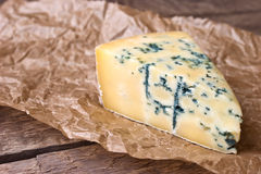 Cheese with a blue mold on the paper Stock Images
