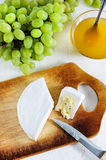 Cheese with blue mould, honey and grape Stock Image