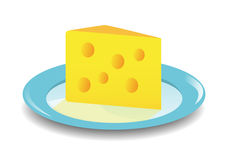 Cheese on a blue plate Stock Photography