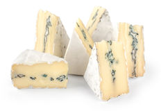 The cheese with a blue and a white mold isolated on white backgr Royalty Free Stock Photos