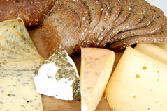 Cheese board and bread Royalty Free Stock Photo