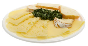 Cheese board, cheese as sliced cold meat Stock Images