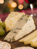 Cheese Board Crackers and Grapes Stock Photo