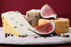 Cheese board with figs Royalty Free Stock Photography