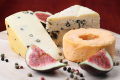 Cheese board with figs Stock Photography