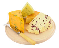 Cheese Board With Mixed Cheeses Stock Images