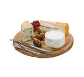 Cheese board with three varieties of french cheese on white back Royalty Free Stock Photography