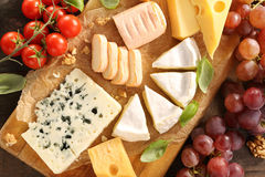 Cheese board various types of cheese composition Royalty Free Stock Images