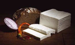 Cheese with bread. White cheese with bread and onion Royalty Free Stock Images