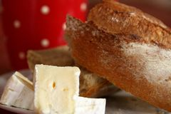Cheese and bread for breakfast Royalty Free Stock Photography