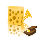 Cheese And Bread With Butter Royalty Free Stock Photos