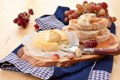 Cheese, bread and grapes Royalty Free Stock Photo