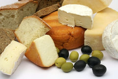Cheese, bread and olives Stock Photography