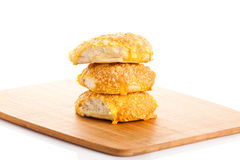 Cheese bread roll isolatedon white background rolls Royalty Free Stock Photos