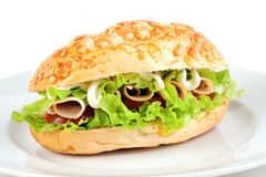 Cheese bread roll sandwich Royalty Free Stock Photos