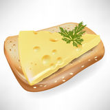 Cheese and bread slice. Cheese and slice of bread royalty free illustration