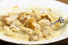 Cheese and bread soup Stock Image