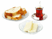 Cheese, bread and tea Royalty Free Stock Photos