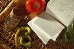Cheese with bread and tomato. White cheese with bread and tomato Royalty Free Stock Images