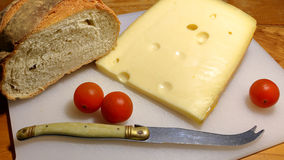 Cheese and bread with tomatoes Stock Image