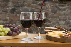 Cheese, Bread, Wine Stock Photography