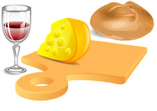 Cheese, bread, wine Royalty Free Stock Photos
