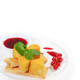 Cheese in breadcrumbs with currant jam Royalty Free Stock Photography