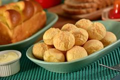 Golden cheese breads balls Royalty Free Stock Images