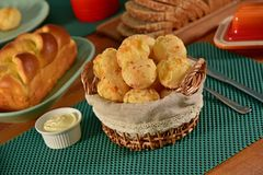 Golden cheese bread balls Royalty Free Stock Images