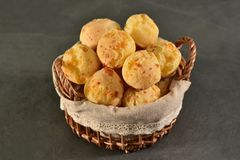 Golden cheese bread balls Royalty Free Stock Photography