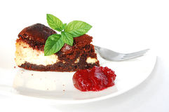 Cheese-brownie with raspberries jam Stock Image