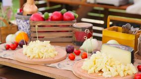 Cheese buffet on the table stock video footage