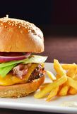 Cheese burger with a bacon Stock Images