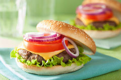 Cheese burger with beef patty lettuce onion tomato Stock Photos