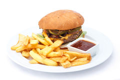 Cheese burger and chips Stock Photos