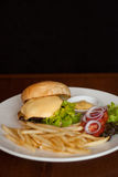 Cheese burger with French fries Royalty Free Stock Images