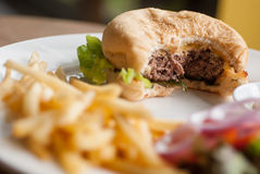 Cheese burger with French fries Royalty Free Stock Image