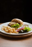 Cheese burger with French fries Stock Images
