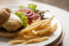 Cheese burger with French fries Royalty Free Stock Photos